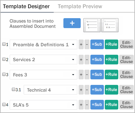 The Contract Template Designer With Clauses Included.