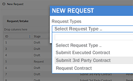 The Contract Request Box for Selecting Contract Type.