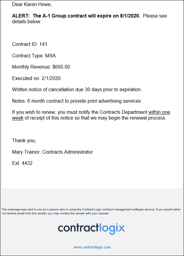 contract alerts